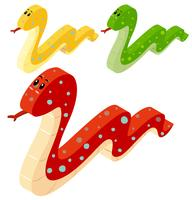 Trois serpents en conception 3D