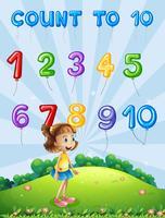 Nombre de cartes mathématiques 1 à 10 vecteur