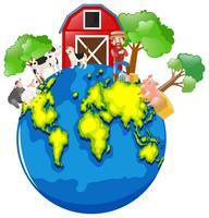 Agriculteur et animaux sur la terre vecteur
