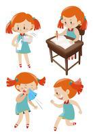 Fille en robe bleue faisant différentes actions