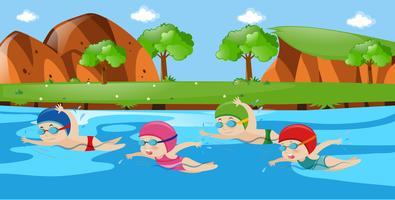 Scène avec quatre enfants nageant dans la rivière vecteur