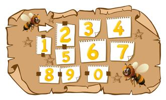 Compter les nombres avec les abeilles vecteur
