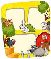 Modèle de cadre avec des animaux de la ferme vecteur
