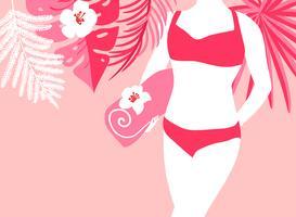 Femme sur la plage avec serviette vecteur