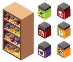 Conception 3D pour les confitures sur les étagères