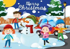 Thème de Noël avec les enfants et bonhomme de neige dans le village vecteur