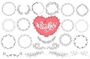 Lauriers et couronnes dessinés à la main illustration vectorielle