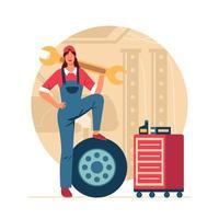 concept de mécanicien femme vecteur