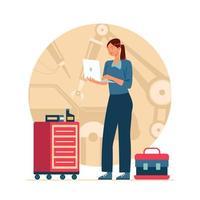 concept de technicien automobile féminin vecteur