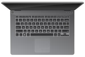Ordinateur portable, vue de dessus, clavier, illustration vectorielle réaliste