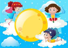 Trois fées volant autour de la lune