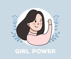 illustration de concept d'affiche de pouvoir de fille. illustration de femmes puissantes et fortes vecteur