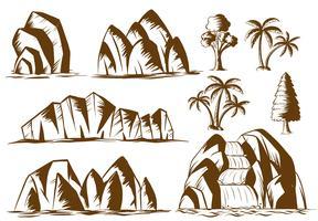 Doodle montagnes et arbres vecteur