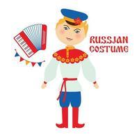 illustration vectorielle plane costume folklorique russe. homme portant des personnages de dessins animés de vêtements traditionnels. artiste musical jouant de l'accordéon. vecteur
