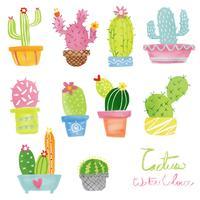 pastel aquarelle cactus set vector