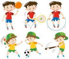 Garçons pratiquant différents sports