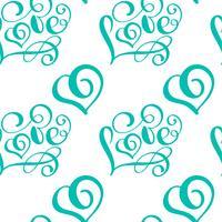 Modèle sans couture avec coeur peint amour Saint Valentin à la main