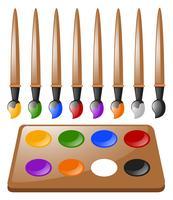 Beaucoup de pinceaux et palette de couleurs vecteur