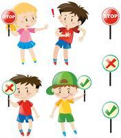Enfants avec des signes différents vecteur