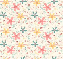 Doodle mignon fleur tropicale sans fin pastel ornement