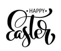 Joyeuses Pâques calligraphie dessiné à la main et lettrage au stylo pinceau vecteur