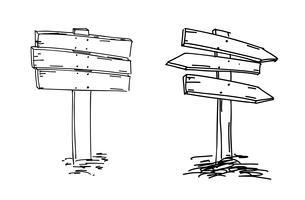 Doubles flèches. Croquis dessiné à la main vecteur