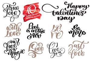 Valentine Love Romantic ensemble de lettres vecteur