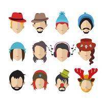 Ensemble d'icônes de personnes avec des visages