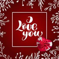 Carte Saint Valentin je t'aime lettrage de vecteur