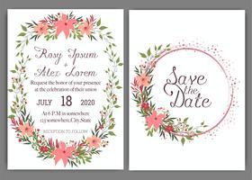Les cartes de mariage élégantes sont constituées de différentes sortes de fleurs.