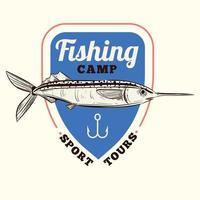 illustration vectorielle insigne de pêche vintage vecteur