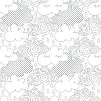 Nuages dans le ciel, style zentangles vecteur