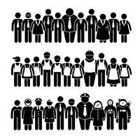Groupe de personnes travailleur de différentes professions icônes de pictogramme de bonhomme allumette. vecteur