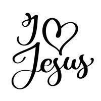 Dessiné à la main j'aime les lettres de Jésus
