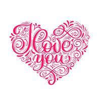Je t'aime texte dans le coeur. Carte de paillettes calligraphie Saint Valentin