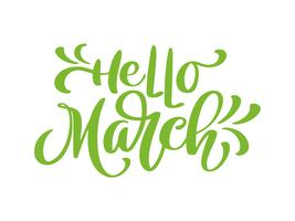 Bonjour mars. Lettrage de calligraphie moderne sur blanc vecteur