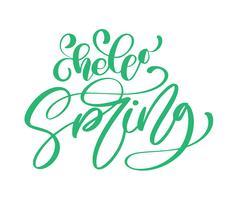 Citation calligraphie bonjour printemps vecteur