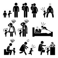 Bad Temper Toddler bébé accès de colère avec mère et père icônes de pictogramme de bonhomme allumette. vecteur