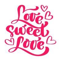 Love Sweet Love élégant design de carte de voeux vecteur