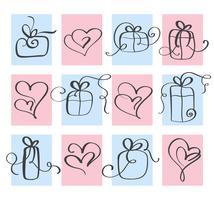 Set Love Vector Saint Valentin coeur et cadeau