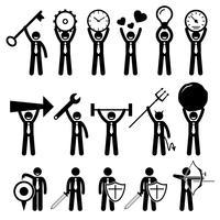 Homme d'affaires homme d'affaires utilisant divers objets icônes de pictogramme de bonhomme allumette.