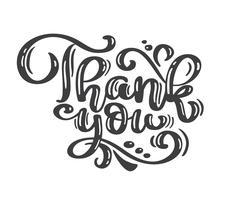 Merci inscription manuscrite texte vintage. Citer lettrage dessiné à la main. Merci calligraphie. Carte de remerciement. Illustration vectorielle