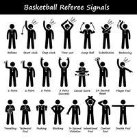 Arbitres de basket-ball officiels des signaux à la main des icônes de pictogramme de bonhomme allumette.