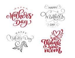 heureux fête des mères ensemble citations de lettrage dessinés à la main. Vector design d'impression t-shirt ou carte postale, modèles de conception de texte calligraphique vectoriels dessinés à la main, phrase isolée sur fond blanc