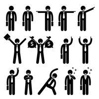 Homme d'affaires homme d'affaires heureux action pose icône de pictogramme de bonhomme allumette. vecteur