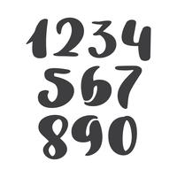 ensemble de vecteurs de nombres d'encre calligraphique. ABC pour votre conception, lettrage de la brosse, police cursive moderne de style pinceau manuscrite isolée sur fond blanc