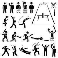 Actions du joueur de cricket pose des icônes de pictogramme de bonhomme allumette. vecteur