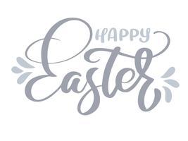 Joyeuses Pâques calligraphie dessinée à la main vecteur