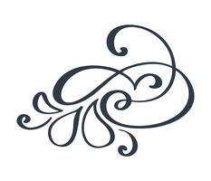 Flourish swirl décoration ornée de style de calligraphie encre de stylo pointu. La plume s'épanouit. Pour graphisme calligraphie, carte postale, menu, invitation de mariage, style romantique