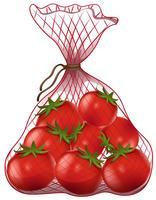 Tomates fraîches dans un sac en filet vecteur